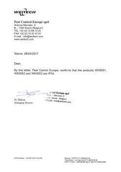 Официальное письмо производителя о защищенности прибора по стандарту IP54