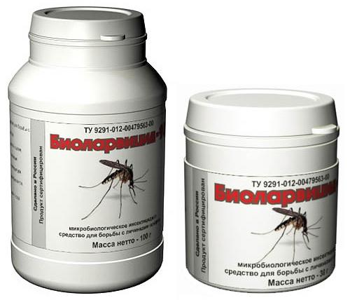 """""""Биоларвицид-100"""" и """"Биоларвицид-30"""" большая и маленькая упаковки вещества объемом 100 и 30 грамм"""