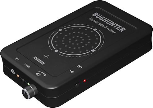 На передней боковой панели подавителя BugHunter DAudio bda-2 Voices сосредоточены все основные элементы управления устройством, в том числе кнопка включения ТУРБО режима, разъем для подключения внешних колонок и регулятор громкости акустической речеподобной помехи