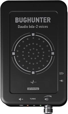 """На лицевой панели подавителя """"BugHunter DAudio bda-2 Voices"""" располагается его главная отличительная черта — динамик акустической речевой помехи (нажмите для увеличения)"""