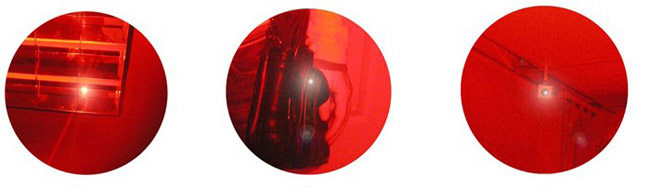 """Светящиеся точки, обнаруженные детектором """"BugHunter Dvideo"""" — это видеокамеры, спрятанные в светильнике, дамской сумке и на потолке (по порядку слева направо)"""