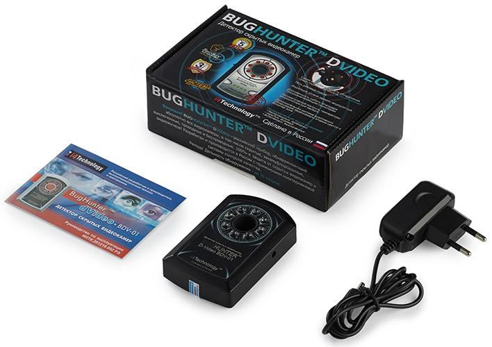 """На фото представлен комплект поставки детектора скрытых камер """"BugHunter Dvideo Эконом"""""""