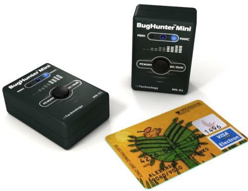 """Габариты детектора жучков """"BugHunter Mini"""" сопоставимы с размерами пластиковой платежной карточки"""