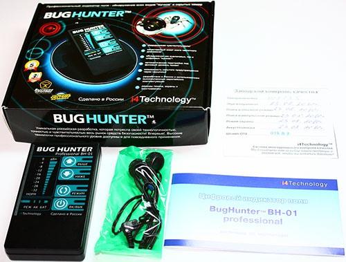 """Стандартная комплектация детектора """"BugHunter Professional BH-01"""" включает инструкцию по эксплуатации и наушники"""