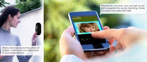 """Домофон """"Cobell"""" активирует  смартфон после нажатия посетителем кнопки звонка"""