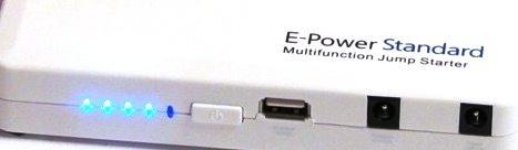 """На переднюю панель прибора """"E-POWER Standart 44,4 Вт/ч"""" вынесены разъемы для питания разных устройств и индикатор заряда"""