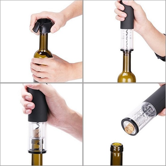 На фото показаны все основные этапы откупоривания вина: удаление фольги с горлышка, извлечение пробки из бутылки и выталкивание ее наружу из самого штопора