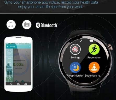 """Смарт-часы """"Ewik W6"""" синхронизируют данные с Вашим сматфоном по протоколу Bluetooth 3.0"""