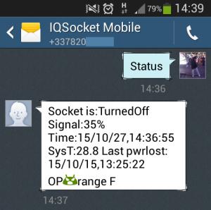 Скриншот с экрана смартфона в режиме управления розеткой