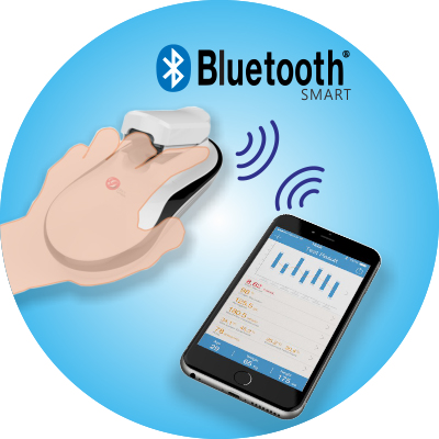 Глюкометр соединяется с мобильным устройством пользователя по Bluetooth