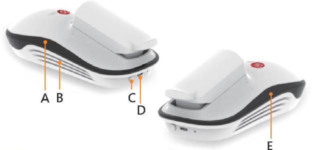 """Основные функциональные элементы на корпусе глюкометра """"GlucoGenius"""": А — светоиндикатор питания; B — вентиляционный участок; C — кнопка включения питания; D — Micro-USB разъем; E — световой индикатор сигнала Bluetooth"""
