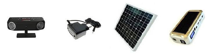 Питание прибора возможно от обычной электросети через адаптер, от солнечной панели с аккумулятором или от автомобильного пускозарядного устройства, имеющего выход с напряжением 5 В