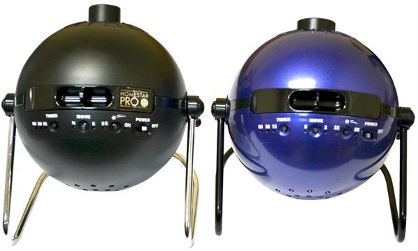В отличие от предшествующей версии HomeStar Pro2 (на фото слева), новый планетарий HomeStar Classic выполнен в стильном синем корпусе, выгодно выделяющем его среди множества приборов аналогичного назначения