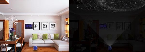 Занимая минимум свободного пространства в помещении, прибор создает очень большую проекцию ночного неба