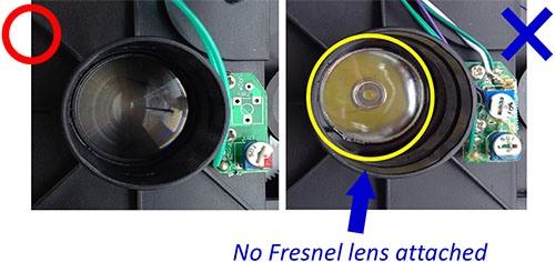 """Слева изображена """"ребристая"""" линза Френеля из объектива настоящего планетария HomeStar """"Classic"""", справа — обычная гладкая (менее качественная, но дешевая) линза из китайского варианта (нажмите на фото, чтобы увеличить)"""