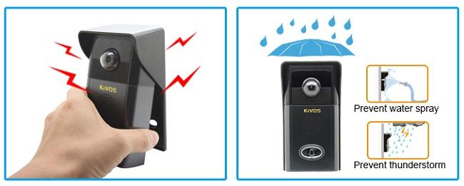 Видеодомофон KIVOS 303 может работать практически в любых погодных условиях, к тому же его внешний блок не так легко украсть