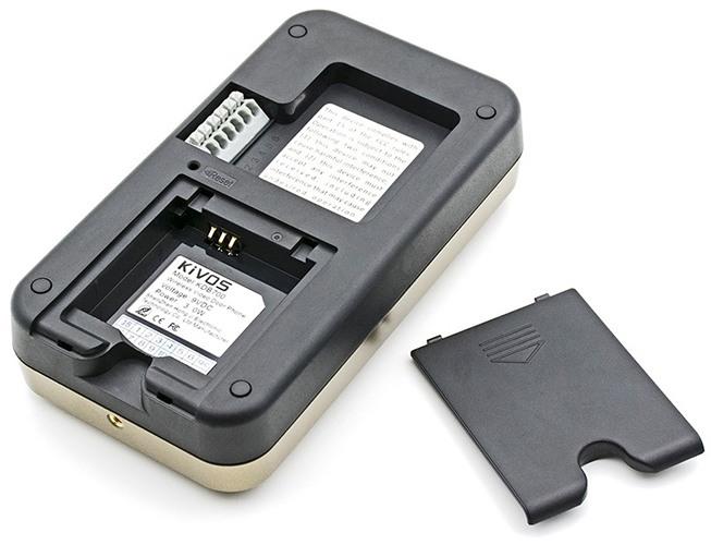 Отсек для установки аккумулятора и коннектор для подключения кабеля питания внешнего блока видеодомофона KIVOS 700 (нажмите на фото для увеличения)