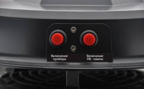 По сути, уничтожитель управляется всего парой кнопок: одна отвечает за включение/выключение всего прибора, другая — за активацию УФ-лампы