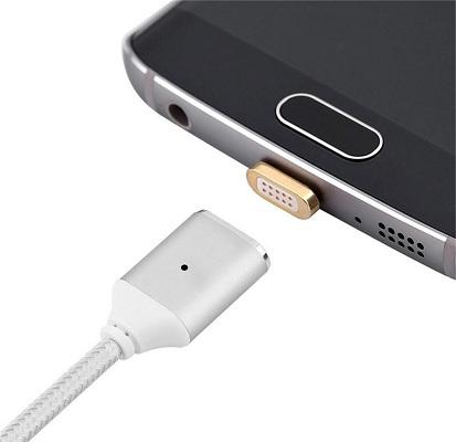 Магнитный фиксатор может устанавливаться и извлекаться из microUSB разъема мобильного гаджета по желанию пользователя
