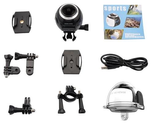 Камера 360° SITITEK XDV360 комплектуется всеми необходимыми аксессуарами, в том числе сразу несколькими креплениями (нажмите на фото для увеличения)