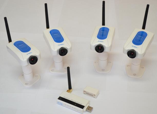Основными элементами видеокомплекта являются четыре беспроводные камеры и ресивер