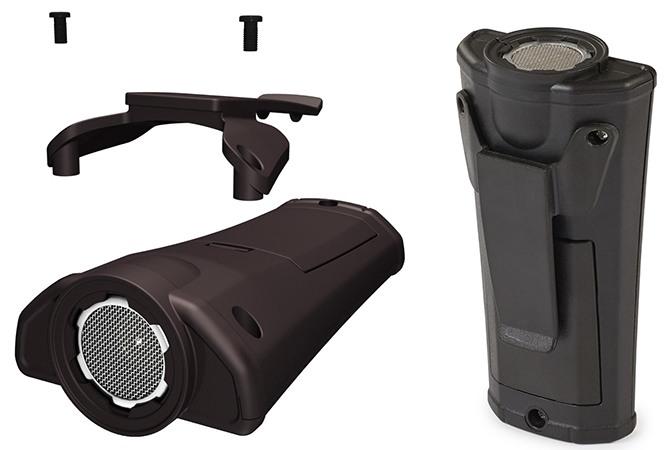 Специальная клипса, позволяющая носить прибор на поясе, по желанию легко фиксируется при помощи двух винтов