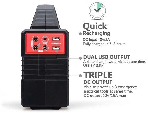 Высокая мощность генератора позволяет ему одновременно питать несколько энергоемких устройств в течение многих часов (нажмите на фото для увеличения)