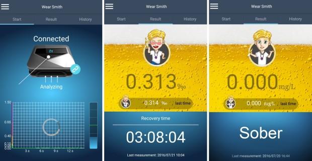 """Установите на свой смартфон специальное приложение для его совместного использования с алкотестером """"WearSmith"""""""
