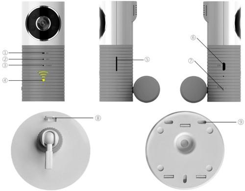 """Органы управления """"Wi-Fi CleverDog 1W"""": 1.Микрофон. 2.Wi-Fi индикатор. 3.Индикатор питания. 4.Кнопка подключения Wi-Fi. 5.Слот карты памяти. 6.Порт подключения кабеля USB. 7.Кнопка подключения. 8.Крепление кабеля. 9.Крепежные отверстия."""