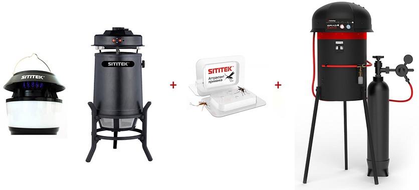 """Данный аттрактант отлично дополнит любой прибор для борьбы с комарами, например, вы можете использовать его совместно с уничтожителями """"SITITEK Москито MV-11"""" и """"SITITEK Садовый-М"""", а также """"GRAD BLACK G2"""""""