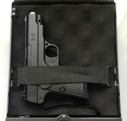 В данном сейфе, например, можно хранить и перевозить с собой стандартный пистолет для самообороны