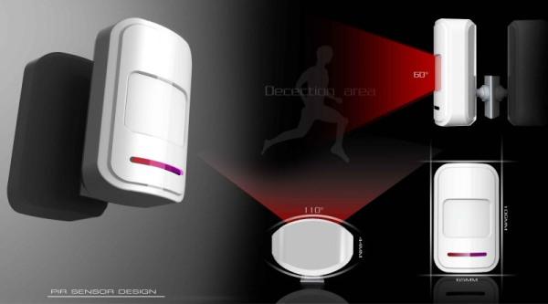 Схематичное изображение зоны срабатывания датчика движения