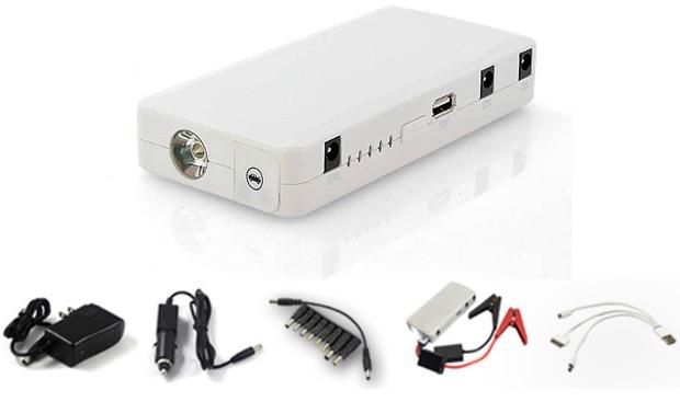 """Пуско-зарядное устройство """"E-POWER Elite"""" комплектуется семнадцатью переходниками и набором проводов для питания разнообразной электроники"""