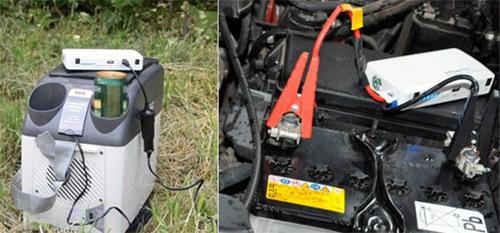 """Примеры использования прибора """"E-POWER Elite"""" для питания походного холодильника и запуска двигателя"""