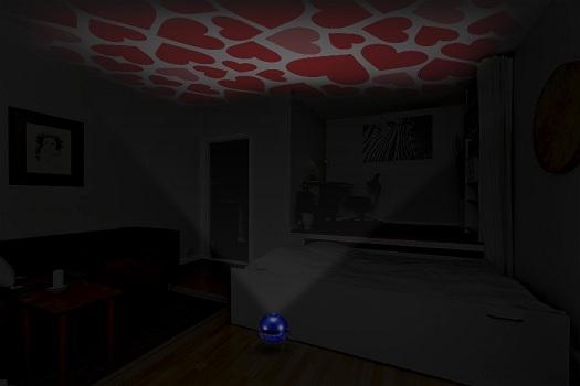 Узор с сердечками на потолке в комнате с приглушенным светом выглядит завораживающе (нажмите на фото для увеличения)