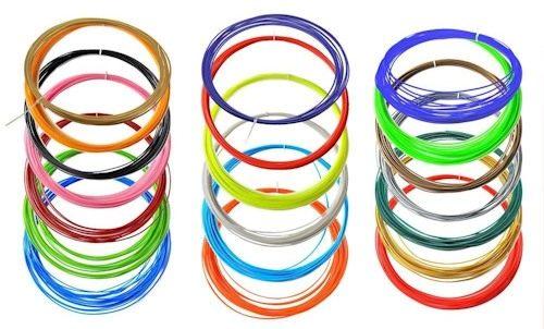 Набор включает в себя 9 разноцветных нитей пластика