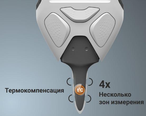 Аппарат снабжен композитным зондом, имеющим сразу несколько зон измерений