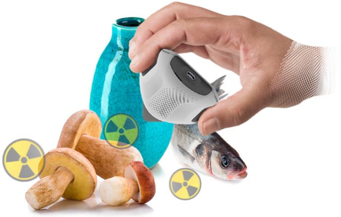 Аппарат измеряет радиационный фон продуктов питания и других предметов