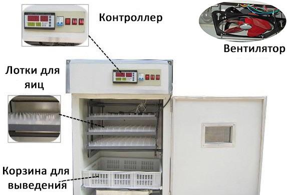 """Расположение основных элементов инкубатора """"HHD 352"""" внутри и снаружи его корпуса"""