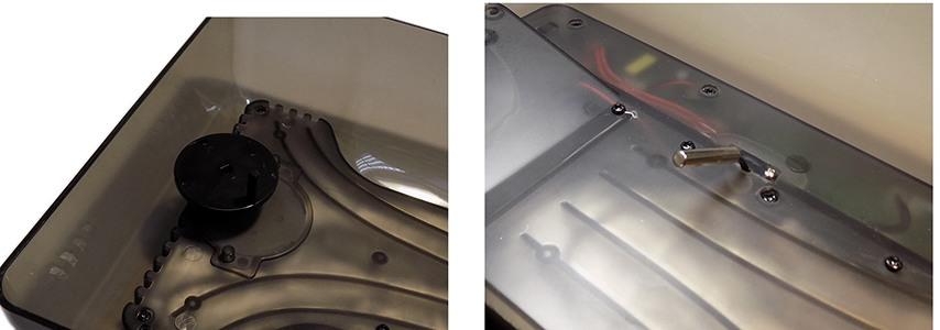 Датчик температуры и механизм для автоповорота яиц расположены на нижней части крышки инкубатора