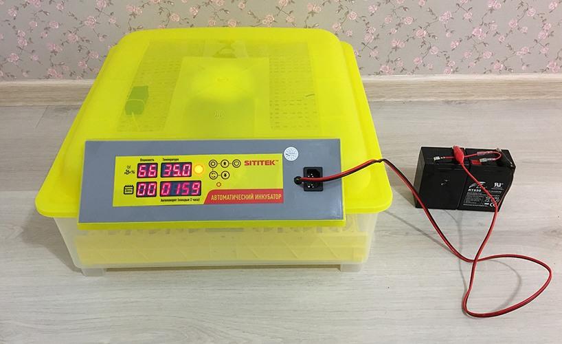 Инкубатор SITITEK 48 с подключенной внешней АКБ (нажмите на фото для увеличения)