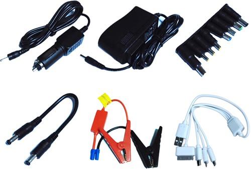 """Пуско-зарядное устройство """"JumpStarter A8"""" комплектуется восемью переходниками и набором проводов для питания разнообразной электроники"""