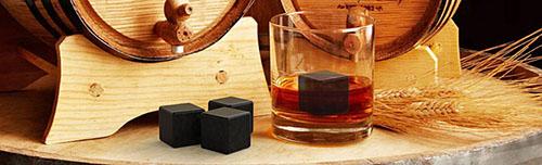 """Кaмни """"Whistone"""" можно использовать для охлаждения виски, вина, коньяка с гарантией сохранения истинного вкуса напитка (увеличение по нажатию)"""