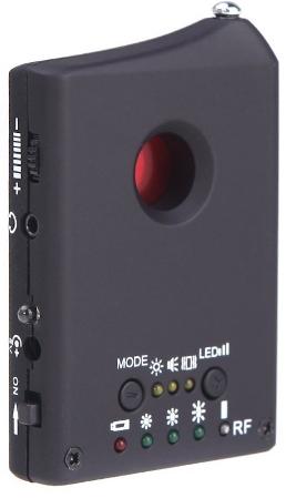 Для выявления скрытых видеокамер вам следует осмотреть помещение через объектив прибора, расположенный в верхней части его корпуса