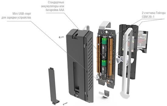 Счетчики радиации расположены по обеим боковым сторонам корпуса