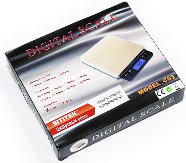 Мини-весы SITITEK C03 упакованы в компактную картонную коробку