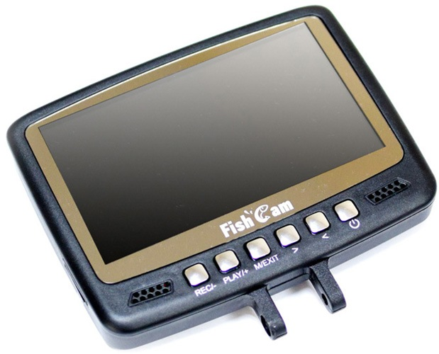 Все кнопки управления расположены на лицевой стороне монитора видеокамеры для рыбалки SITITEK FishCam-430 DVR