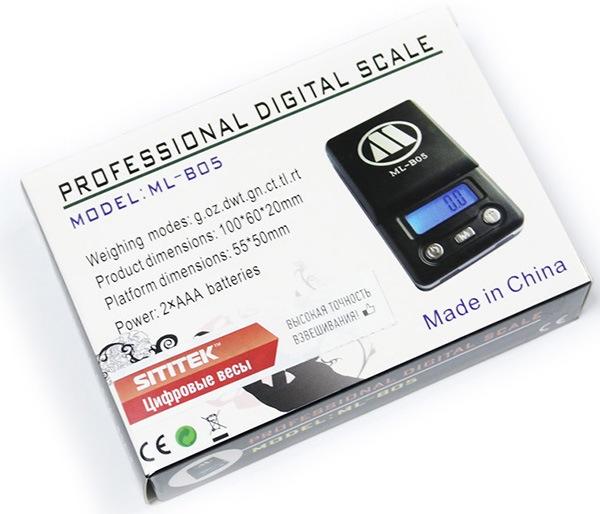 Мини-весы SITITEK ML-B05 упакованы в компактную картонную коробку