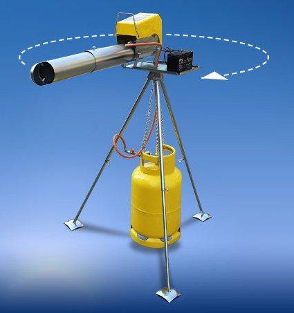 Гром-пушка, установленная на поворотной площадке треноги, автоматически поворачивается на угол 40-60 градусов после каждого