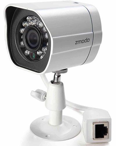 """Камеры из видеокомплекта """"Zmodo PoE Профи"""" соединяются с регистратором посредством сетевого кабеля через разъем RJ45, что обеспечивает высокую надежность связи"""